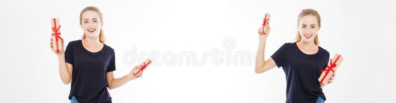 Collage uppsättning av den unga nätta bunten för kvinnaståendehåll av gåvaaskar Le den lyckliga flickan i t-skjorta på vit bakgru arkivfoton