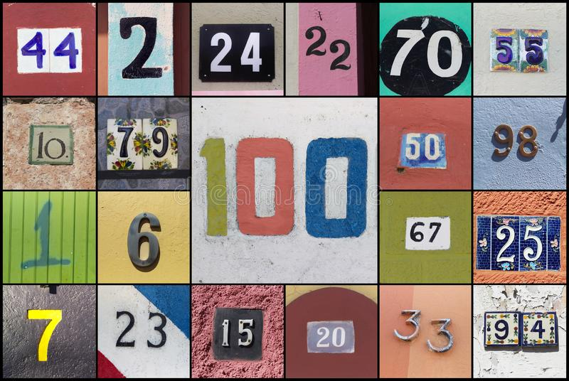 Collage van aantallen met nummer honderd in het centrum stock fotografie