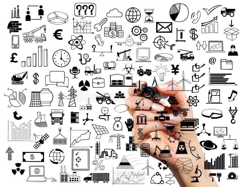 Collage van bedrijfssymbolen stock fotografie