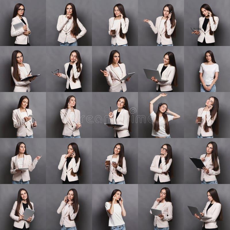 Download Collage Van Bedrijfsvrouwenemoties Stock Afbeelding - Afbeelding bestaande uit mooi, achtergrond: 114225605