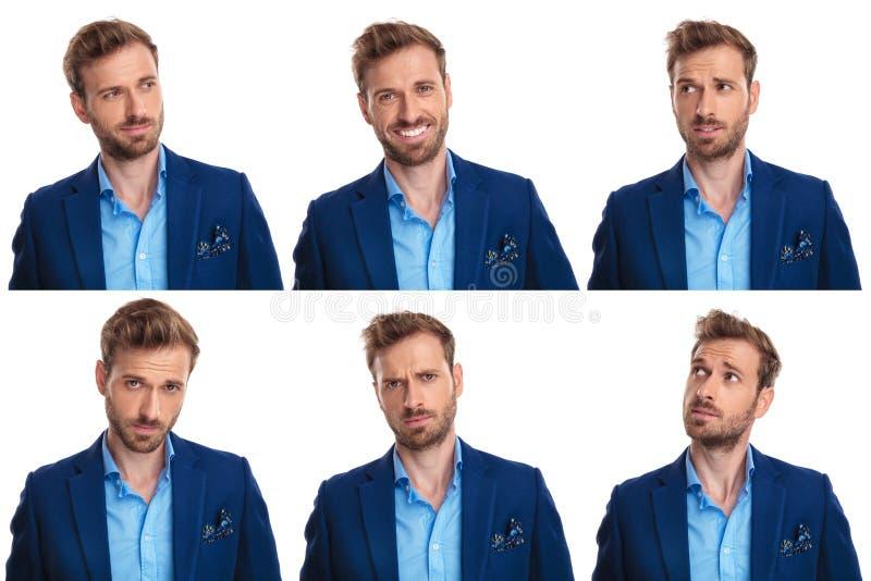 Collage van 6 beelden van jonge mensen` s gezichten royalty-vrije stock fotografie