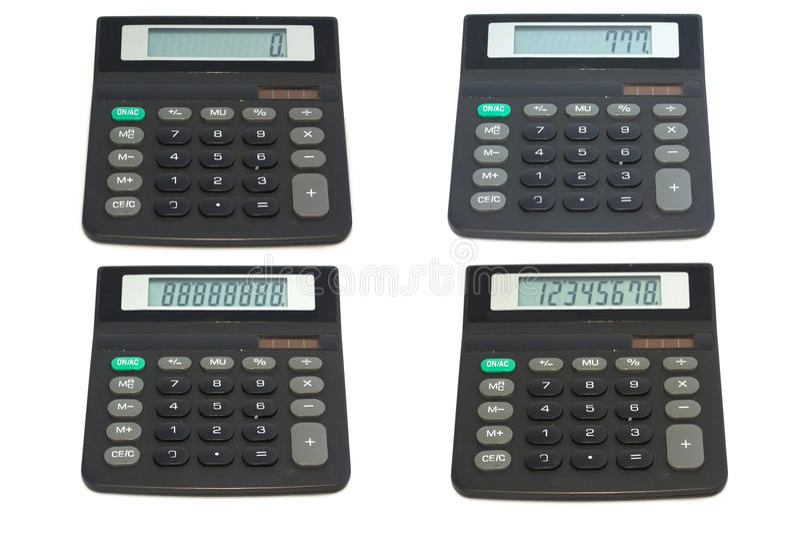 Collage van calculators op witte achtergrond royalty-vrije stock fotografie