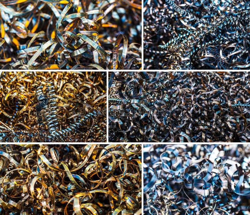 Collage van Close-up verdraaide spiraalvormige staalspaanders royalty-vrije stock afbeeldingen