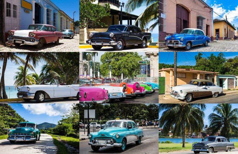 Collage van Cuba met klassieke auto's stock afbeelding