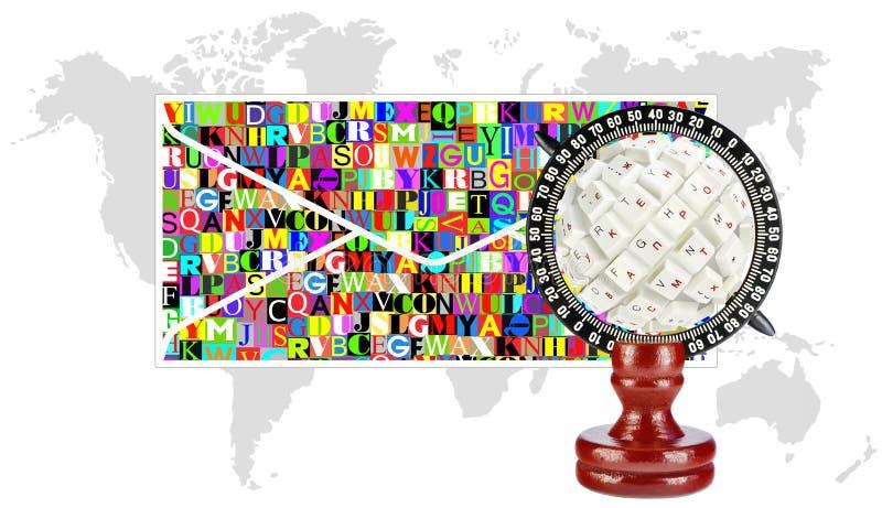 Collage van de bol, de envelop en de kaarten van de continenten vector illustratie