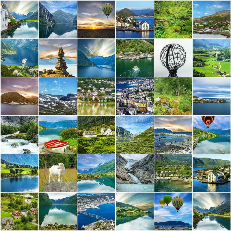 Collage van de de landschappenreis van Noorwegen de natuurlijke stock afbeelding