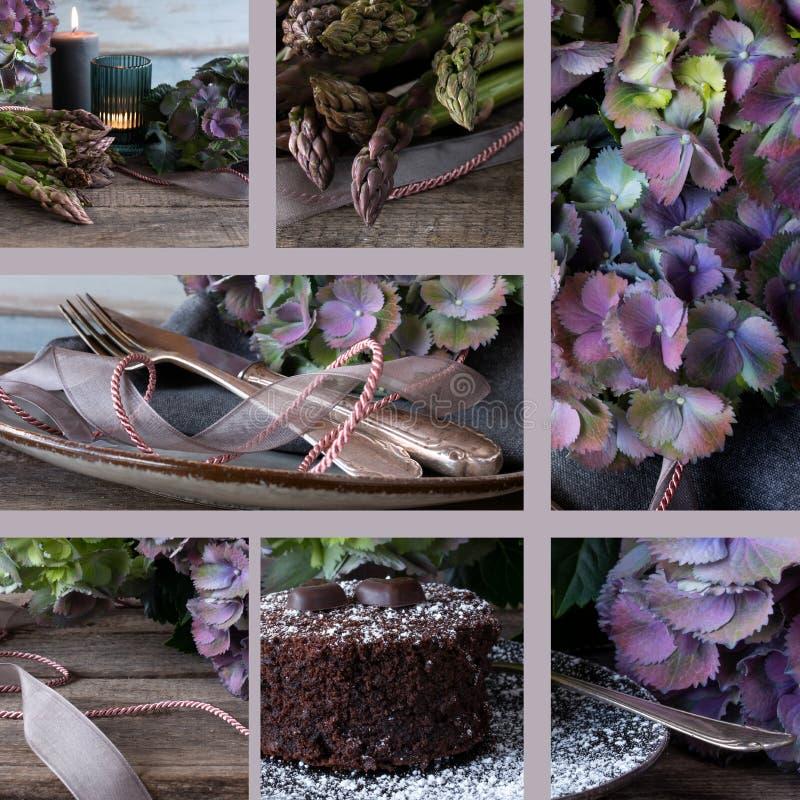 Collage van de donkere atmosferische motieven van de voedselfotografie voor een menu royalty-vrije stock afbeeldingen