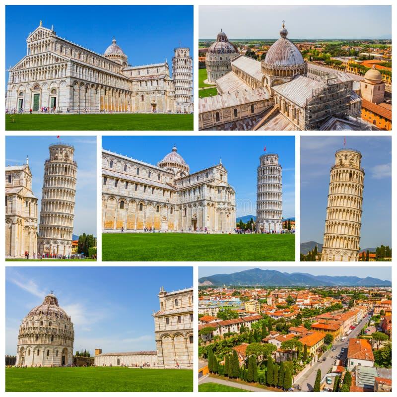 Collage van de foto's van Pisa in Italië (Leunende Toren van Pisa, Piazza D royalty-vrije stock foto