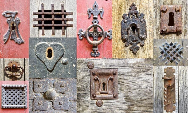 Collage van de fragmenten oude deuren. stock fotografie