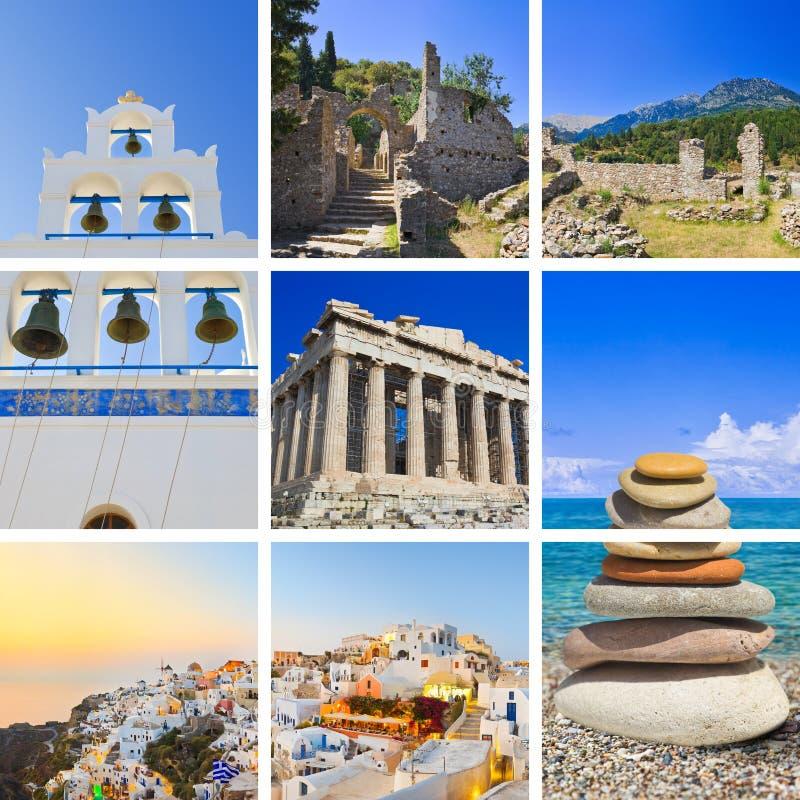 Collage van de reisbeelden van Griekenland stock afbeelding