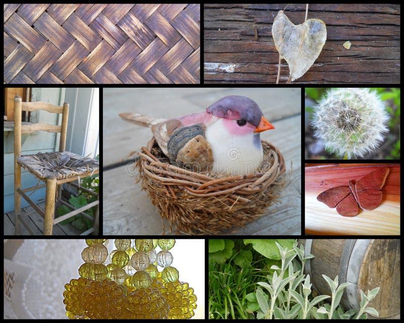 Collage van de Rustieke Texturen van het Land royalty-vrije stock foto's