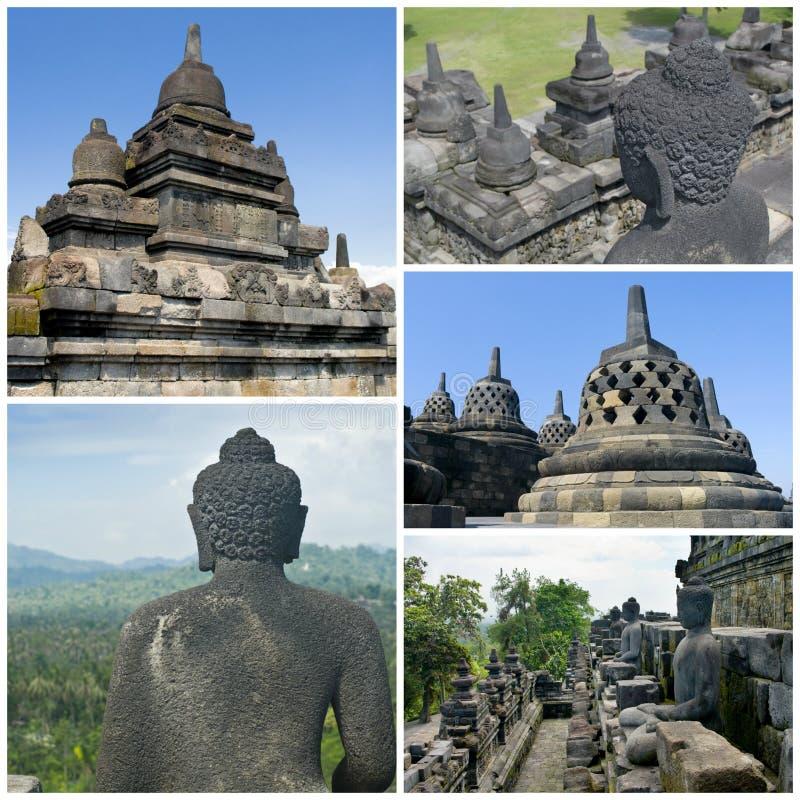 Collage van de tempel Borobudur van beeldenbuddist Yogyakarta Java, binnen stock fotografie