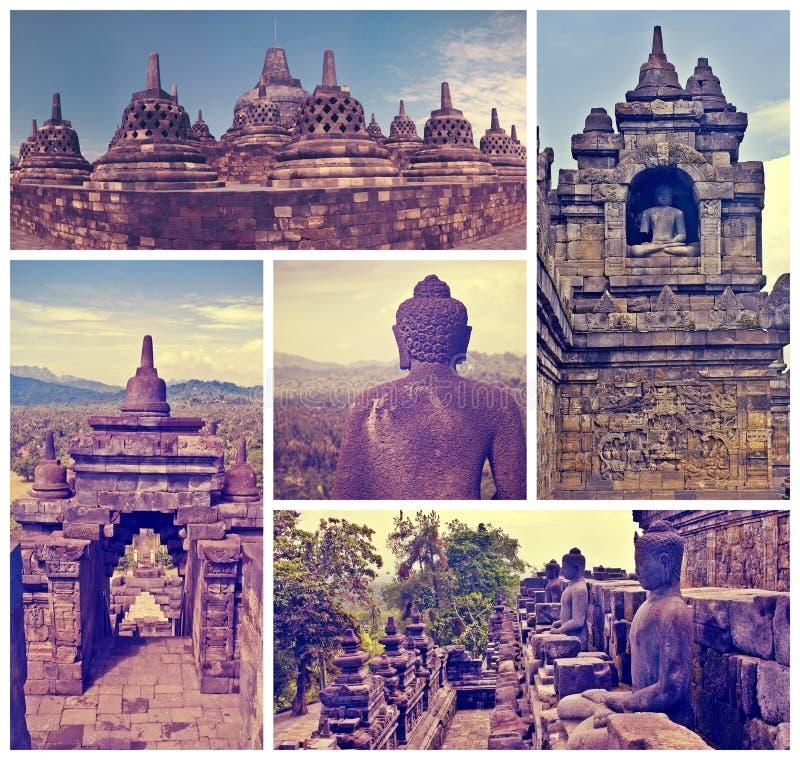 Collage van de tempel Borobudur van beeldenbuddist Yogyakarta Java, binnen stock foto's