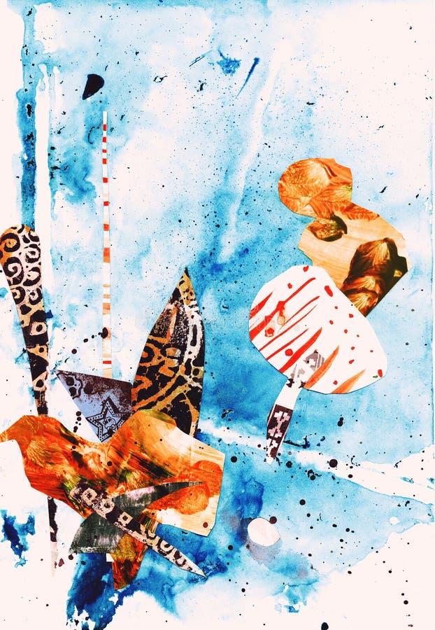 Collage van de waterverf de Eigentijdse kunst stock illustratie