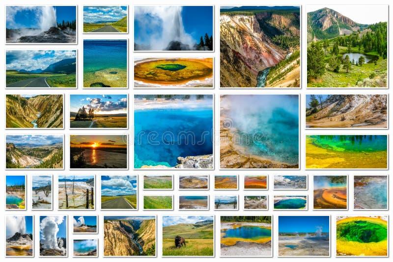 Collage van de Yellowstone de luchtmening stock afbeeldingen