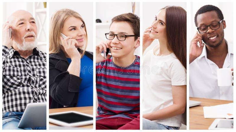 Collage van diverse mensen die op mobiel spreken stock afbeelding