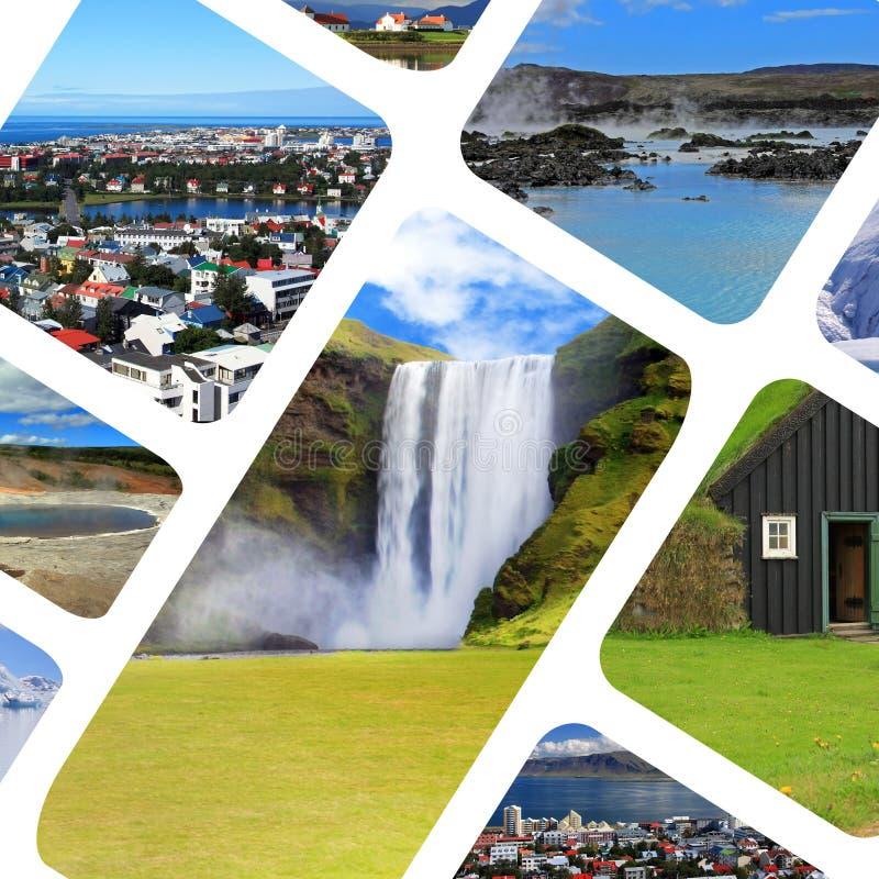 Collage van diverse populaire toeristische attracties om IJsland stock afbeeldingen