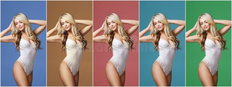 Collage van een jonge, sportieve en geschikte vrouw in wit ondergoed over verschillende kleurrijke achtergrond Manier en schoonhe stock foto's