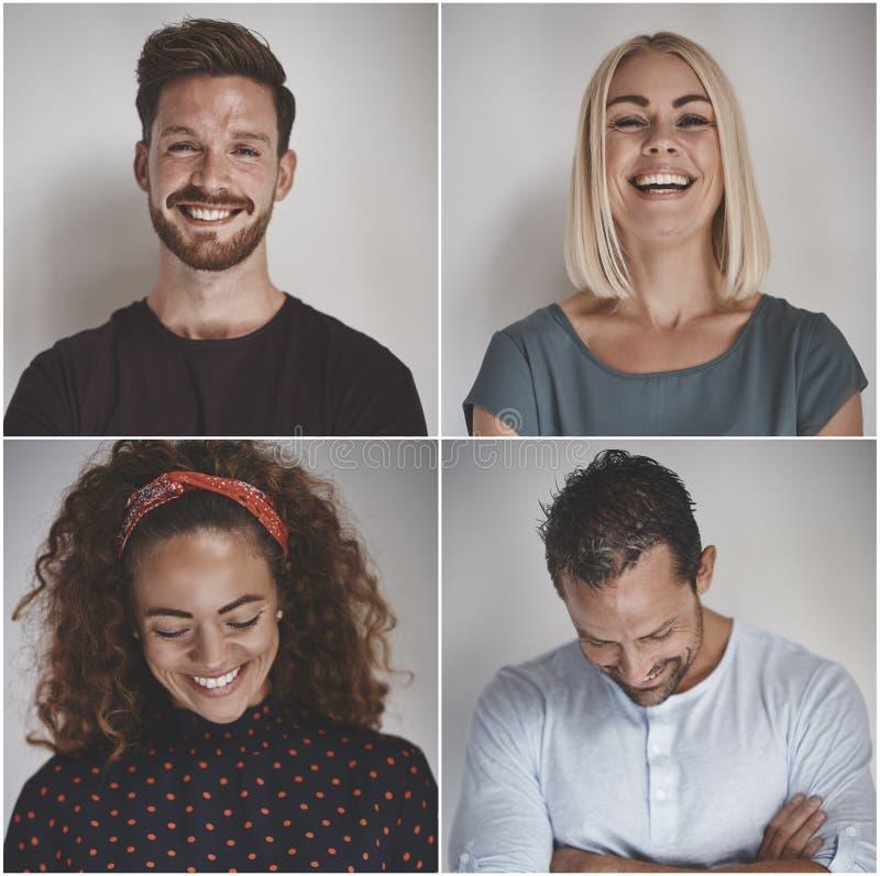 Collage van een lachende groep diverse ondernemers stock fotografie