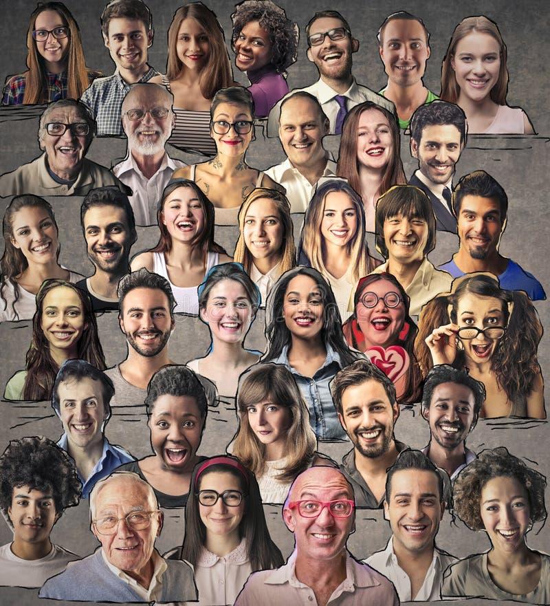 Collage van een multiraciale menigte stock afbeelding