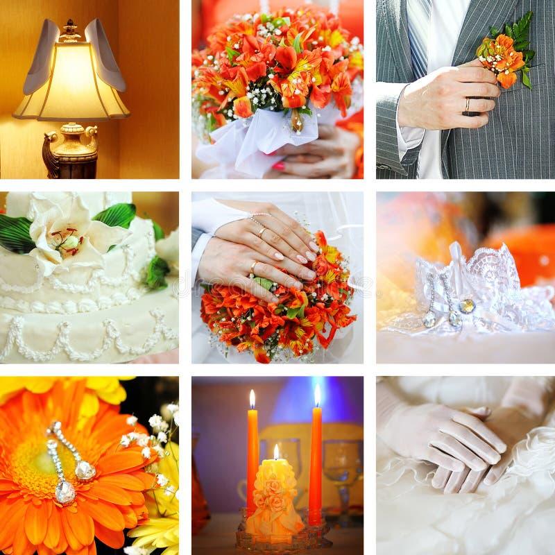 Collage van huwelijksfoto's royalty-vrije stock foto's