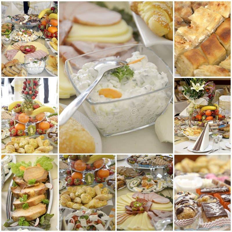 Collage van een variuos gastronomisch voedsel stock foto's