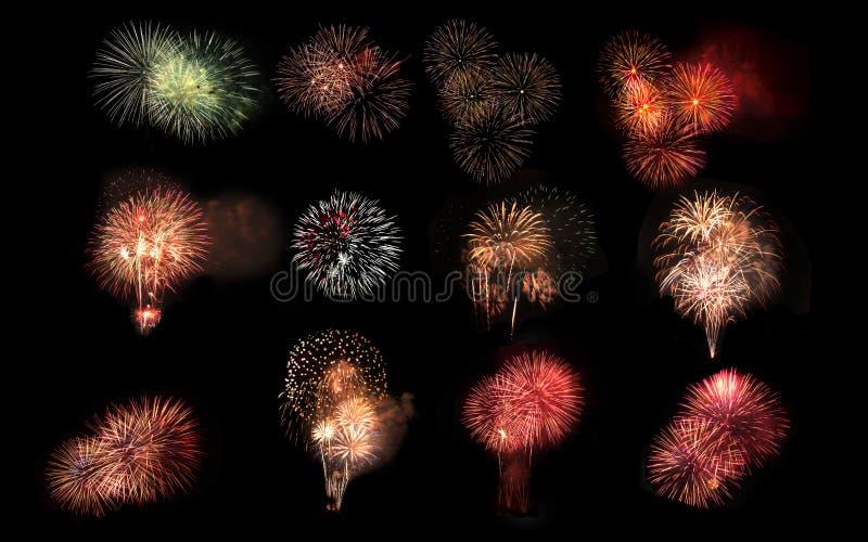 Collage van een verscheidenheid van kleurrijk die vuurwerk op zwarte bac wordt geïsoleerd stock foto