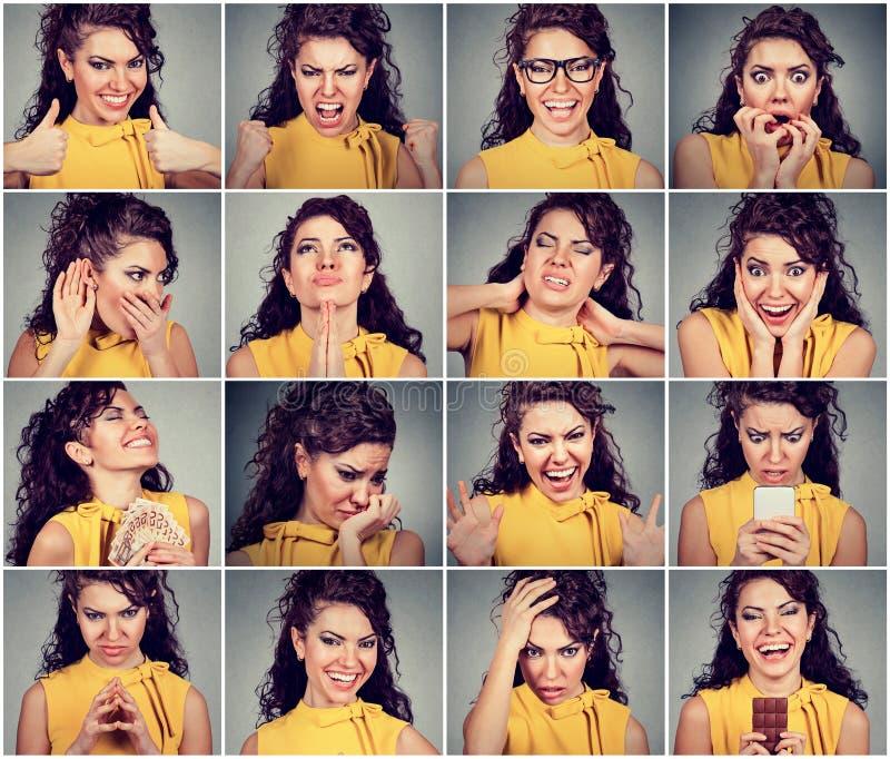 Collage van een vrouw die verschillend emoties en gevoel uitdrukken royalty-vrije stock fotografie
