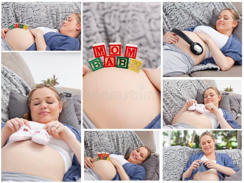 Collage van een vrouw tijdens haar zwangerschap royalty-vrije stock fotografie