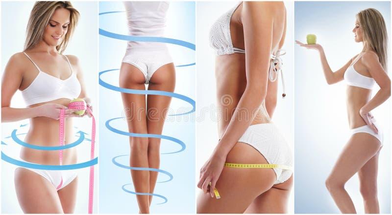 Collage van een vrouwelijk lichaam met pijlen stock foto