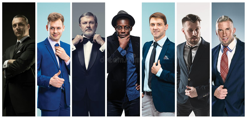 Collage van elegante mensen in kostuums stock fotografie