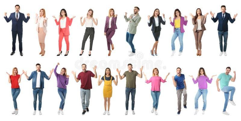 Collage van emotionele mensen op witte achtergrond stock foto