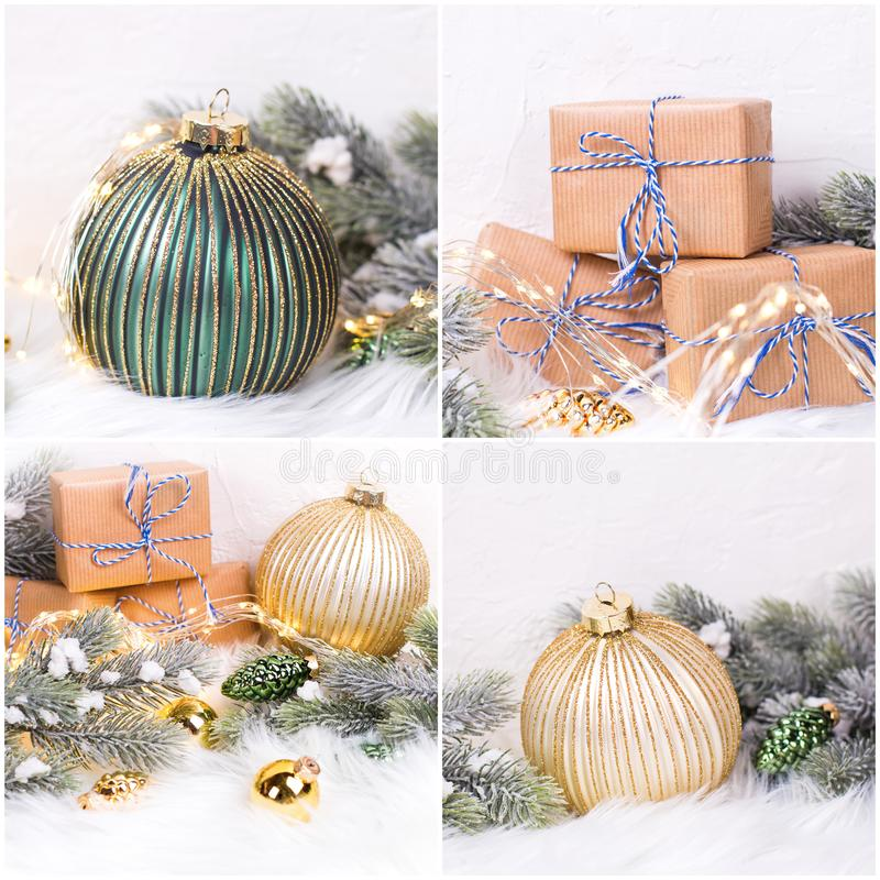 Collage van feestelijke Nieuwjaarfoto's stock afbeeldingen