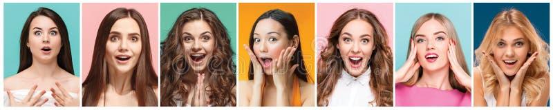 Collage van foto's van aantrekkelijke glimlachende gelukkige vrouwen royalty-vrije stock afbeelding