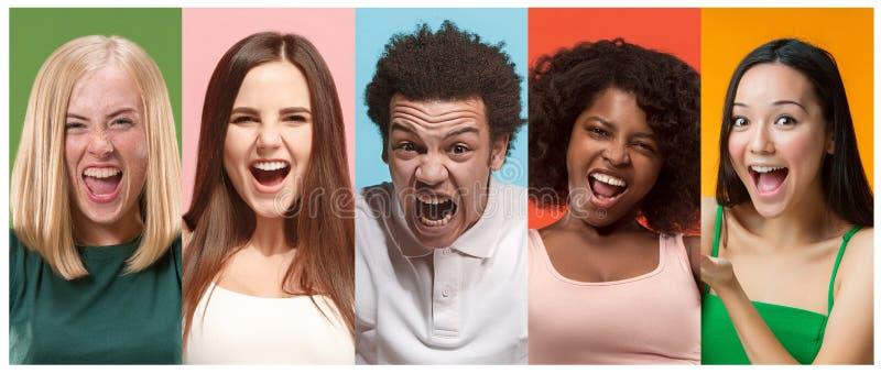Collage van foto's van aantrekkelijke glimlachende gelukkige vrouwen en de afromens royalty-vrije stock afbeelding