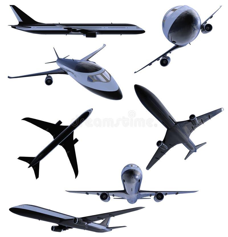 Collage van geïsoleerde zwart vliegtuig royalty-vrije illustratie