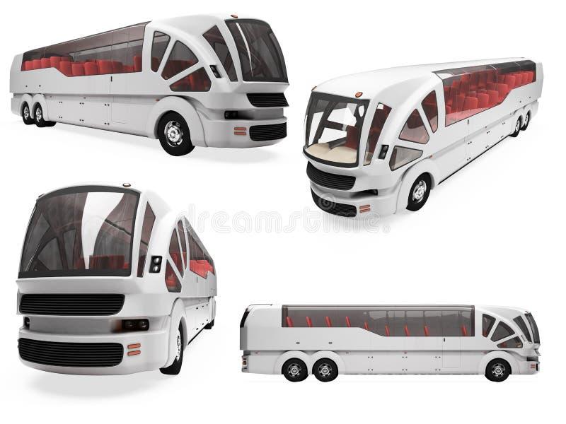 Collage van geïsoleerdet conceptenbus vector illustratie