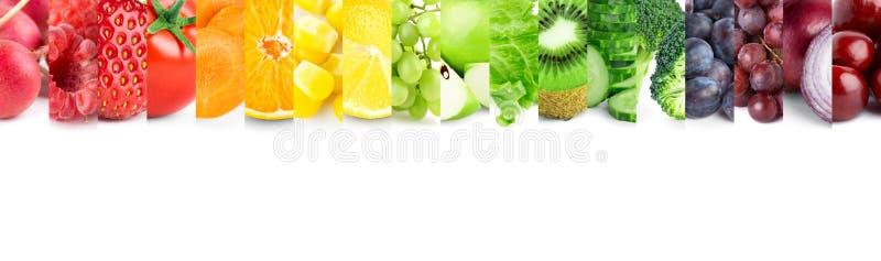 Collage van gemengde vruchten en groenten royalty-vrije stock fotografie