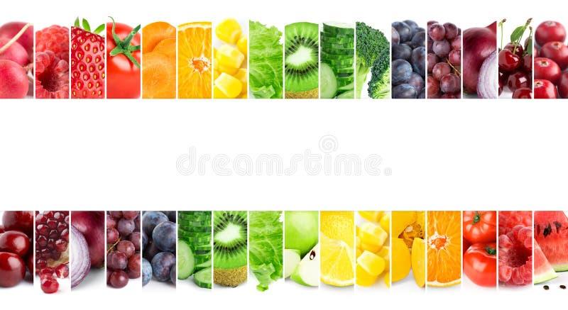 Collage van gemengde vruchten en groenten Vers voedsel Concept stock foto