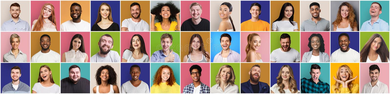 Collage van glimlachende en gelukkige multi-etnische mensen royalty-vrije stock foto's