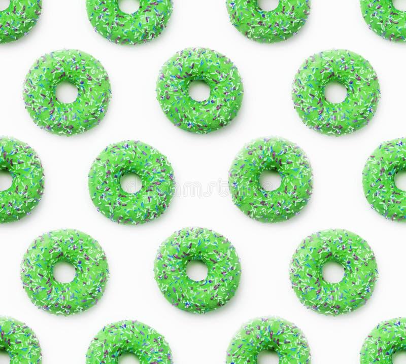 Collage van groene doughnuts in glans op een witte achtergrond partijen royalty-vrije stock fotografie