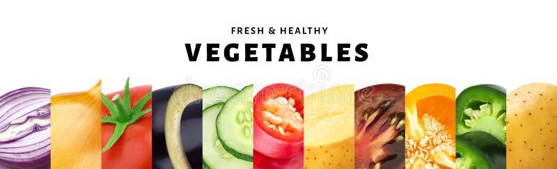 Collage van groente op witte achtergrond met close-up dat van exemplaar het ruimte, verse en gezonde groenten wordt geïsoleerd royalty-vrije stock afbeeldingen