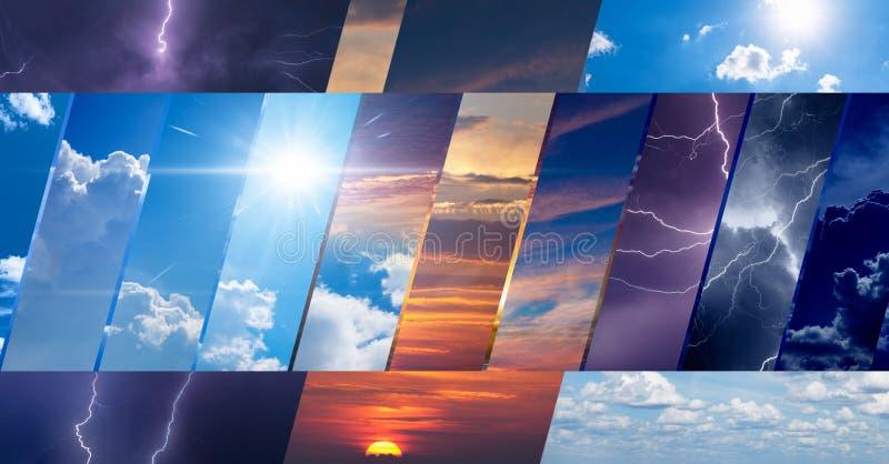 Collage van hemelfoto's met verscheidenheidsweersomstandigheden stock illustratie