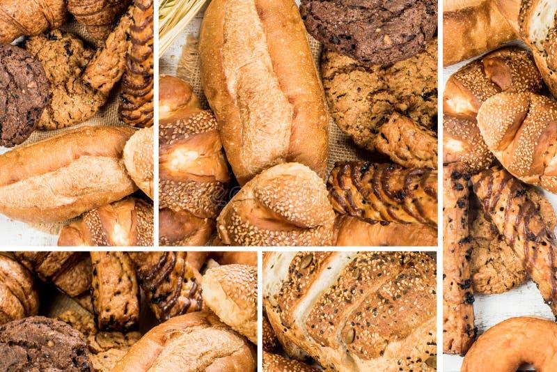 Collage van het close-up van het bakkerijvoedsel voor achtergrond stock foto