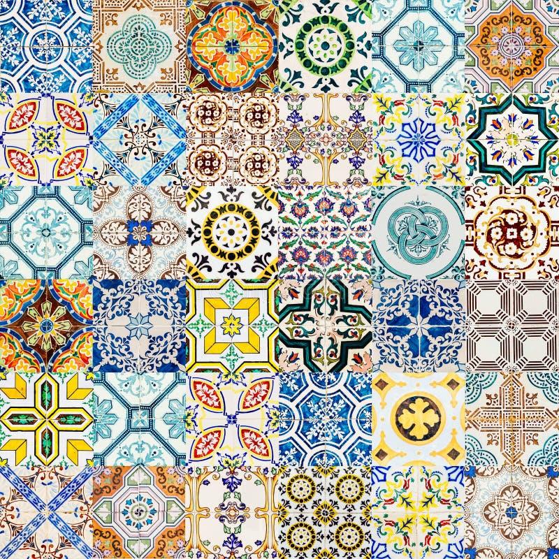 Collage van het Decoratieve Ceramische Patroon van de Muurtextuur in Lissabon stock afbeelding