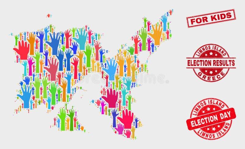 Collage van het Eilandkaart van Stemlimnos en Gekrast voor Jonge geitjeszegel royalty-vrije illustratie