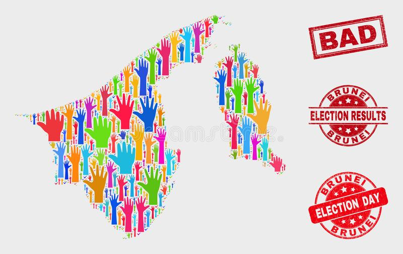 Collage van het Stemmen van de over Kaart van Brunei en Verbinding van de Nood de Slechte Zegel vector illustratie