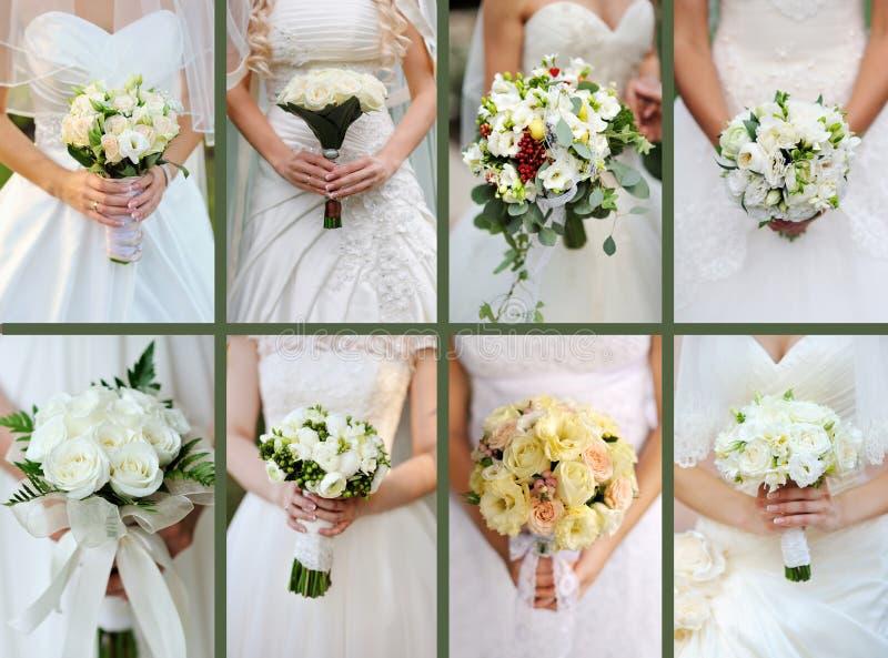 Collage van huwelijksboeketten van witte rozen in de handen van de bruid stock foto's