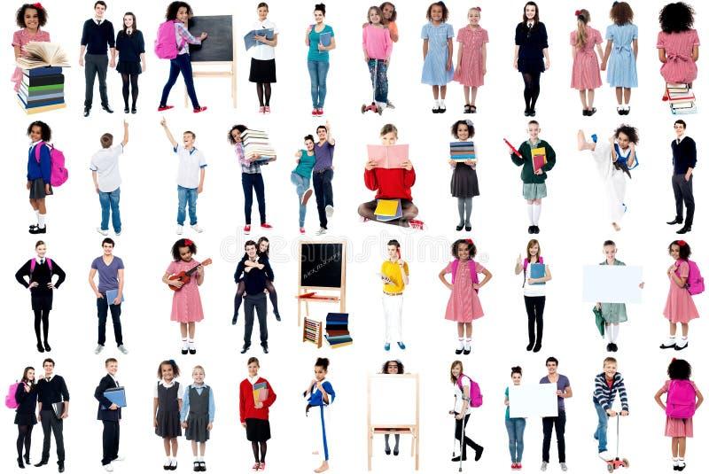 Collage van ijverige schoolkinderen stock afbeelding