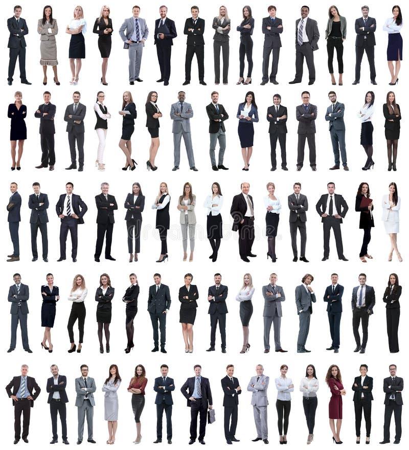 Collage van jonge bedrijfsmensen die zich op een rij bevinden royalty-vrije stock afbeelding